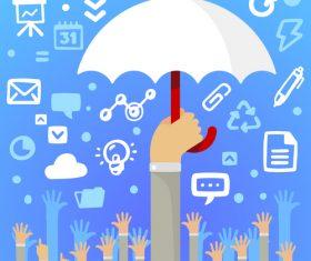 Umbrella of infographics vector