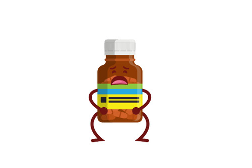 Uncomfortable Medicine bottle expression cartoon vector