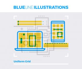 Uniform design grid blue line vector
