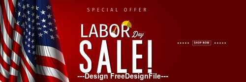 United States Labor day sale design vector