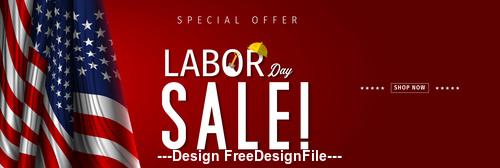 United States Labor day sale design vector