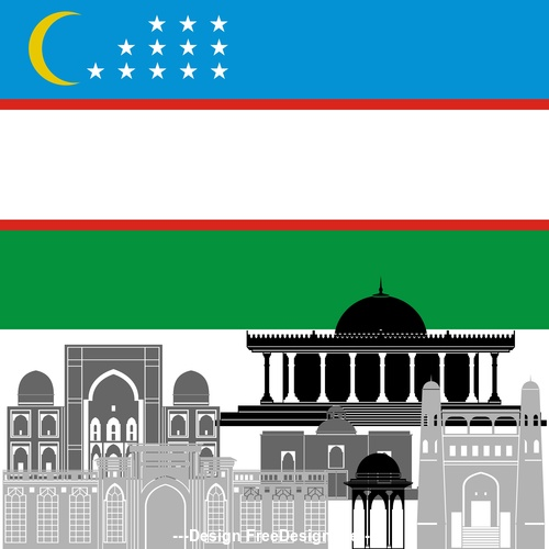Uzbekistan collection of different architecture vector