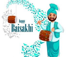 Vaisakhi celebrated in Punjab India vector