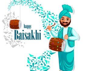 Vaisakhi celebrated in Punjab India vector