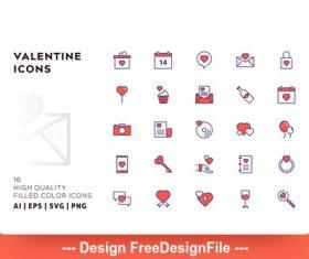 Valentine filled color vector