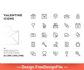 Valentine icon outline vector