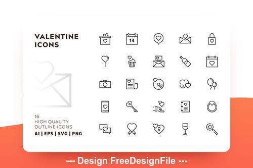 Valentine icon outline vector