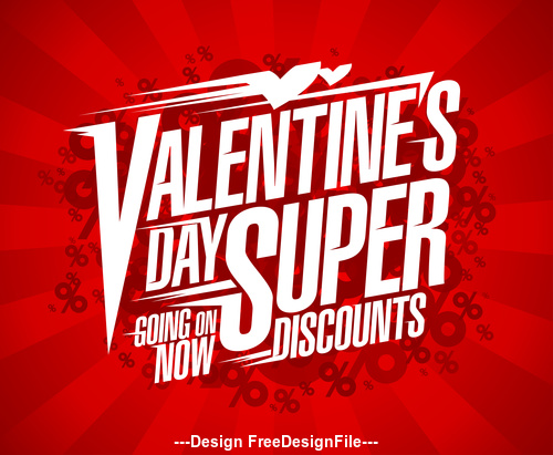 Valentines Day Super Discounts cloud percents Poster red vector