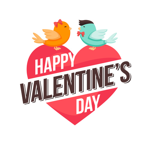 Valentines day and two little birds vector