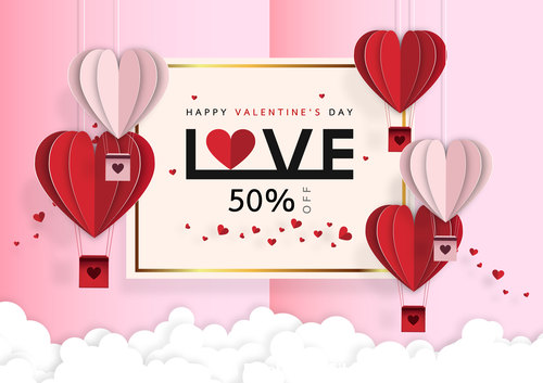 Valentines day sale background with Origami vector