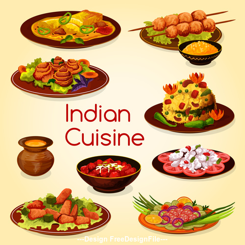 Various Indian cuisine vector