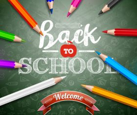 Various color pencils and back to school design vector