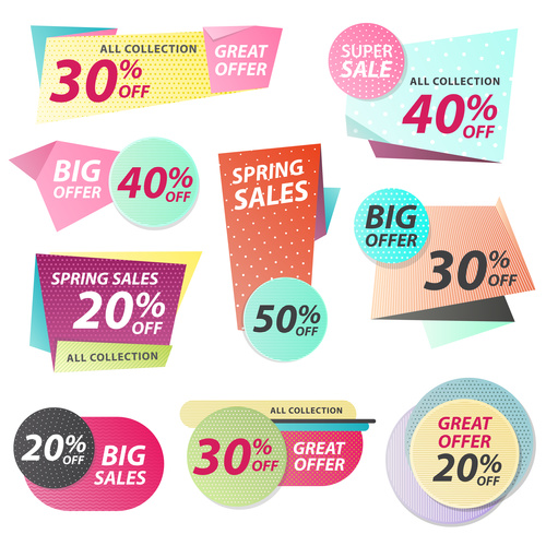 Various color sales labels vector