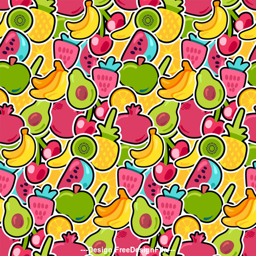 Various fruits Seamless patterns vector
