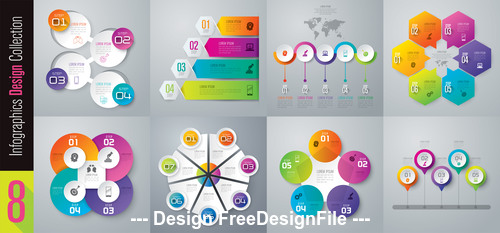 Various geometric design Infographics vector