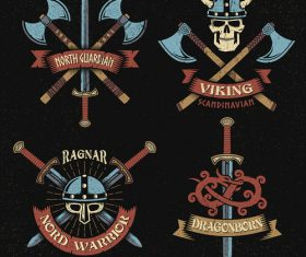 Viking design elements in hand-drawn style texture black