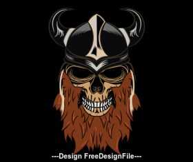 Viking pirate head portrait design elements vector