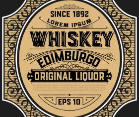Vintage whiskey label frame vector