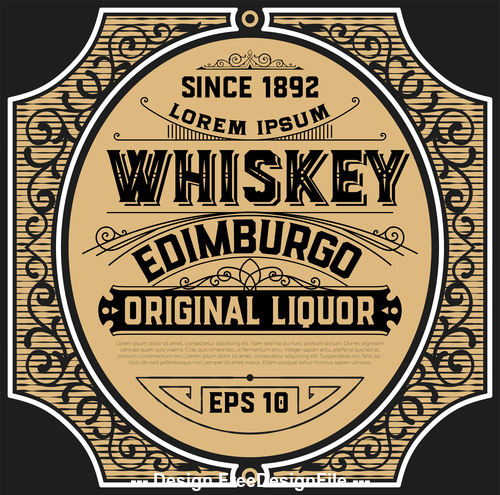 Vintage whiskey label frame vector