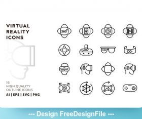 Virtual reality outline vector