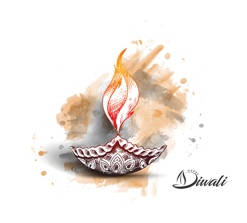 Watercolor diwali indian vector