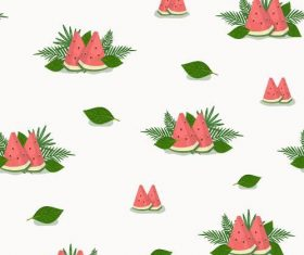 Watermelon and leaves background seamless pattern vector