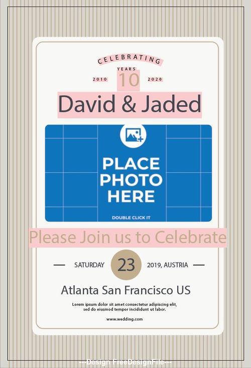 Wedding Anniversary Post Card vector