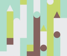 White and green castles abstract geometric vector backgrounds