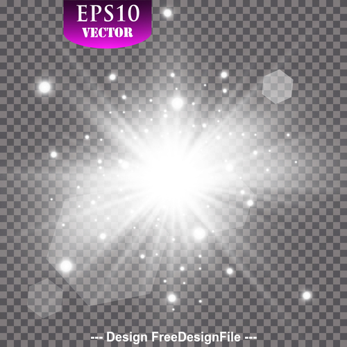 White explosion glow light effect vector