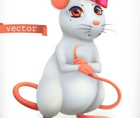 White mouse 3d vector icon vector