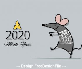 White rat symbol of new year 2020 funny cartoon vector