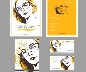 Woman templates for card vector