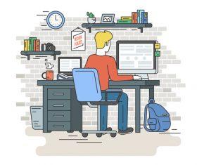 Work hard cartoon vector