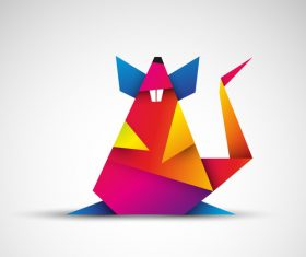 Year of the Rat 2020 origami rat vector