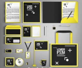 Yellow and black card brochure cover design vector