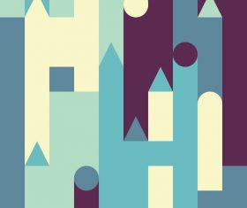 Yellow and dark blue castles abstract geometric vector backgrounds