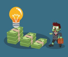 Zombie businessman and money stairs vector