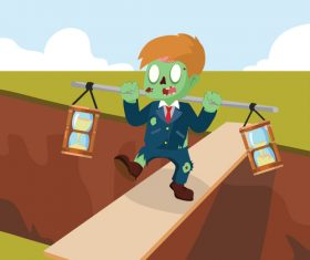 Zombie businessman carrying two hourglass onscreen vector