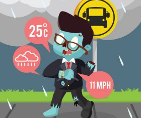 Zombie businessman consulting weather with his smart watch vector