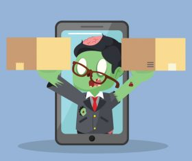 Zombie businessman get out from phone with two boxes vector