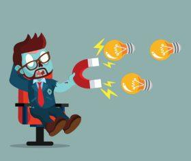 Zombie businessman magnet bulb vector