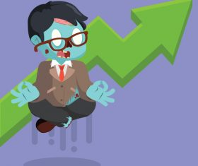 Zombie businessman meditating with graphic raising vector