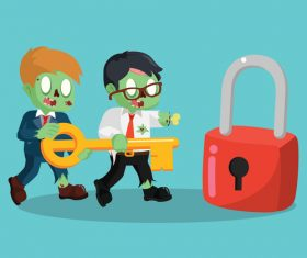 Zombie businessman ogether holding giant key vector