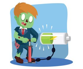 Zombie businessman pumping energy vector
