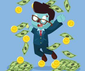 Zombie businessman raining money vector