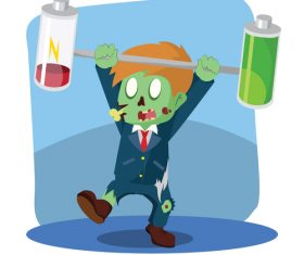 Zombie businessman unbalanced battery vector