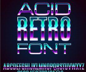 acid retro font vector