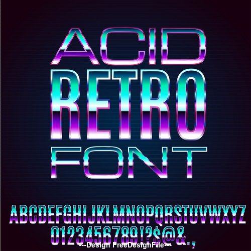 acid retro font vector