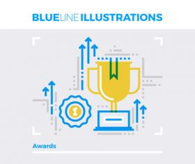 awards blue line vector