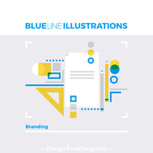 branding design blue line vector
